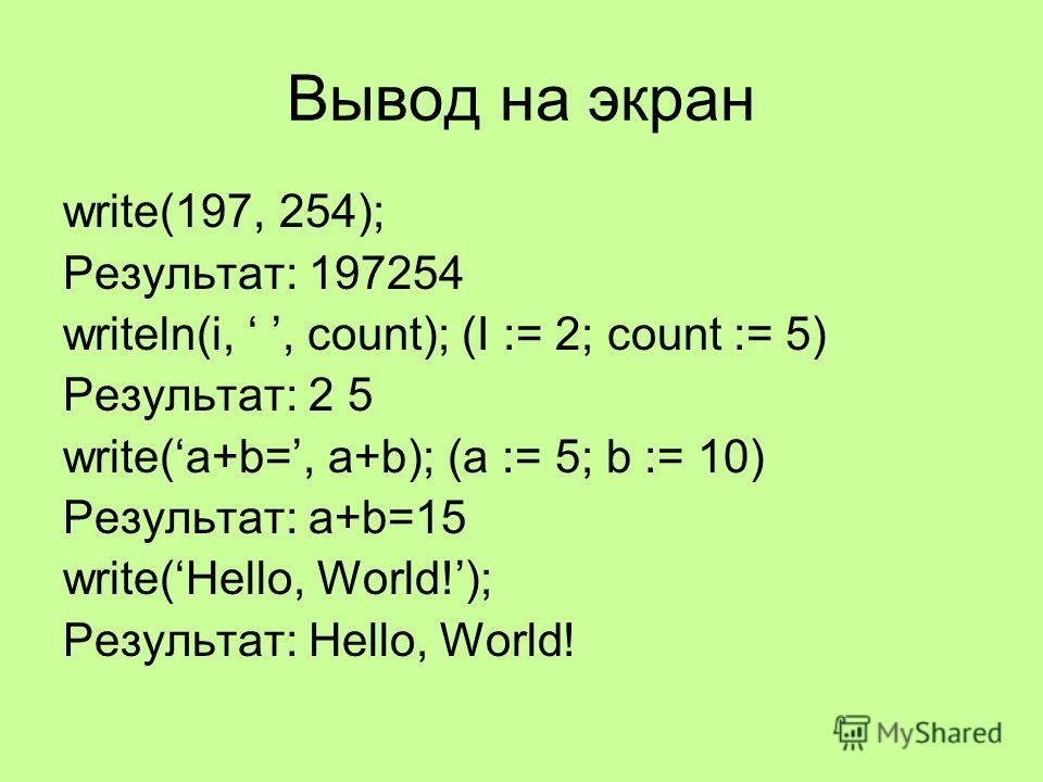 Вывод на экран write(197, 254); Результат: 197254 writeln(i,, count); (I := 2; count := 5) Результат: 2 5 write(a+b=, a+b); (a := 5; b := 10) Результат: a+b=15 write(Hello, World!); Результат: Hello, World!