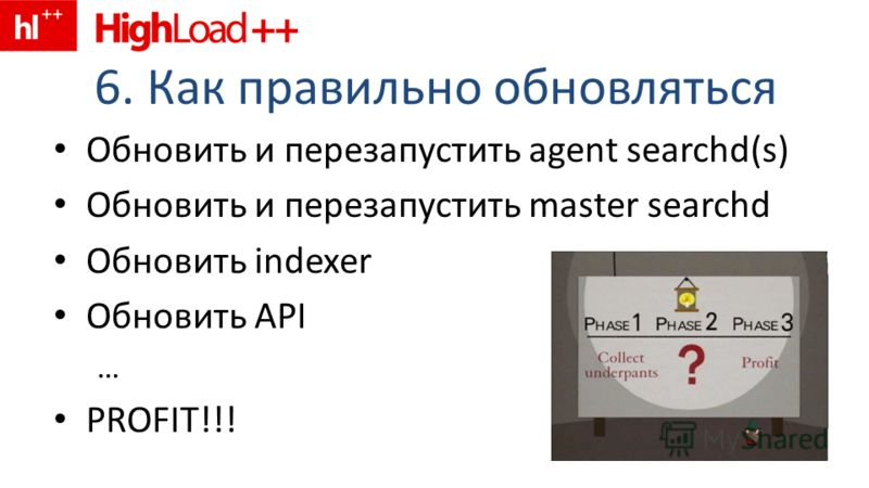 6. Как правильно обновляться Обновить и перезапустить agent searchd(s) Обновить и перезапустить master searchd Обновить indexer Обновить API … PROFIT!!!