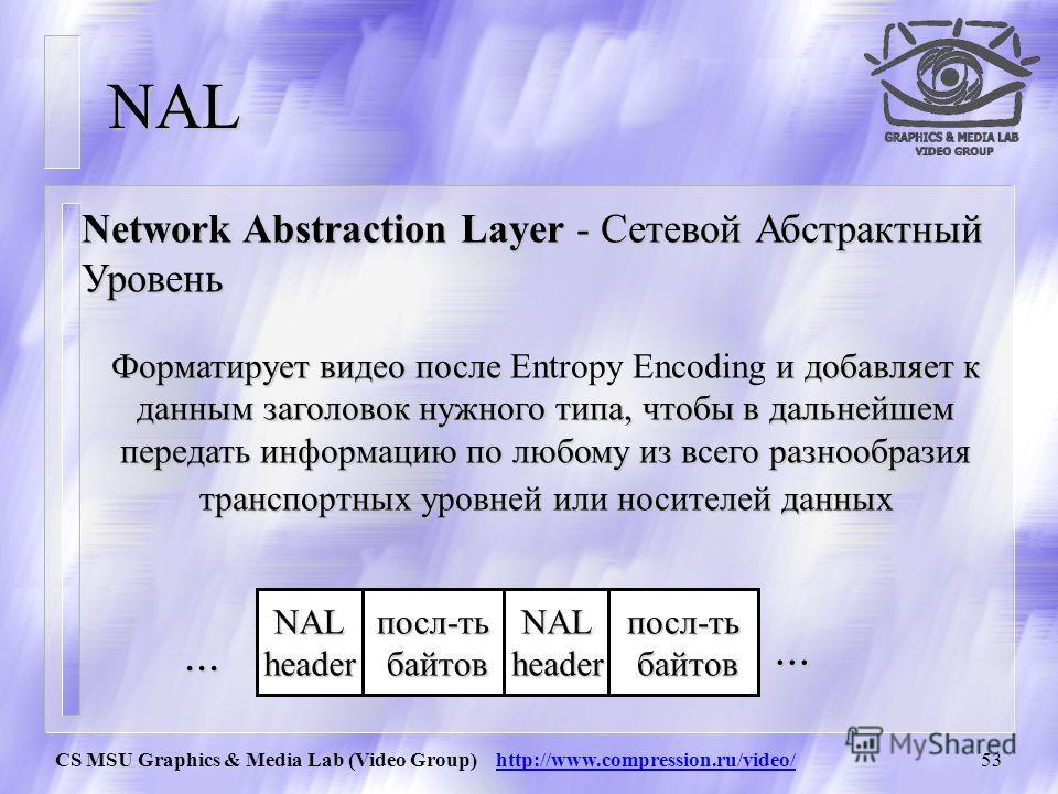 CS MSU Graphics & Media Lab (Video Group) http://www.compression.ru/video/52 III.Арифметическое кодирование каждого бина (используются две вероятности p[bin=0] p[bin=1]) IV.Обновление модели Пример. Выбрана model2 и bin=0 model2_0_count++; if (model2