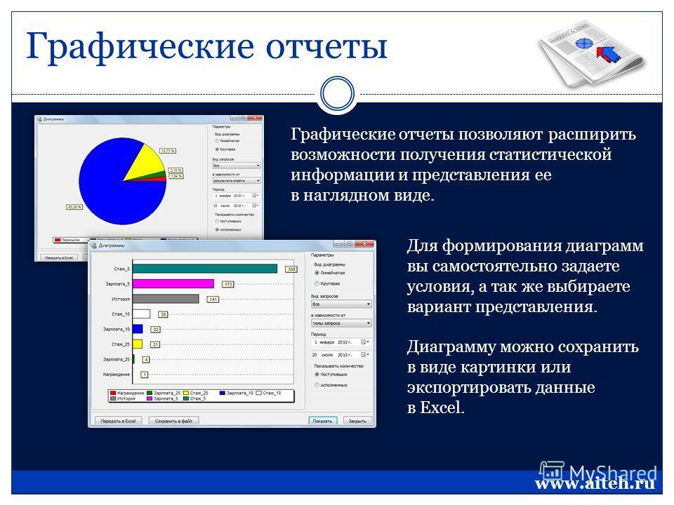 Графические отчеты Графические отчеты позволяют расширить возможности получения статистической информации и представления ее в наглядном виде. Для формирования диаграмм вы самостоятельно задаете условия, а так же выбираете вариант представления. Диаг