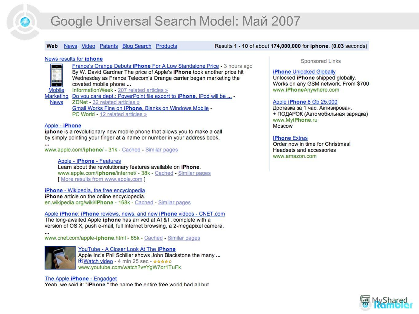 Google Universal Search Model: Май 2007