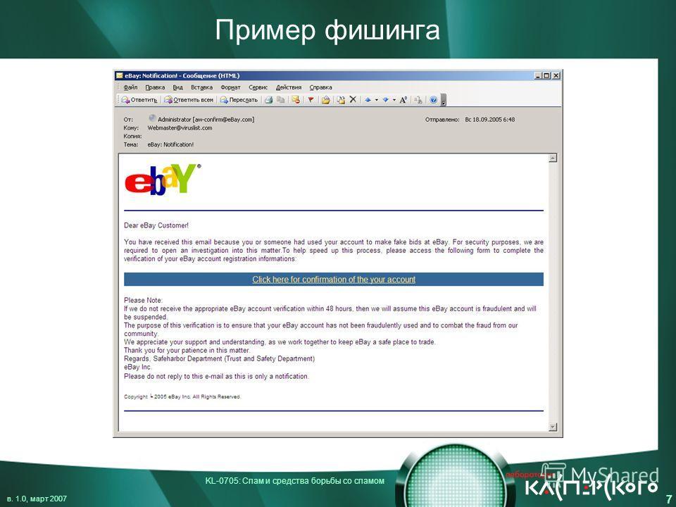 KL-0705: Спам и средства борьбы со спамом в. 1.0, март 2007 7 Пример фишинга
