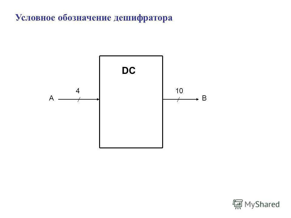 Условное обозначение дешифратора DC 4 AB 10