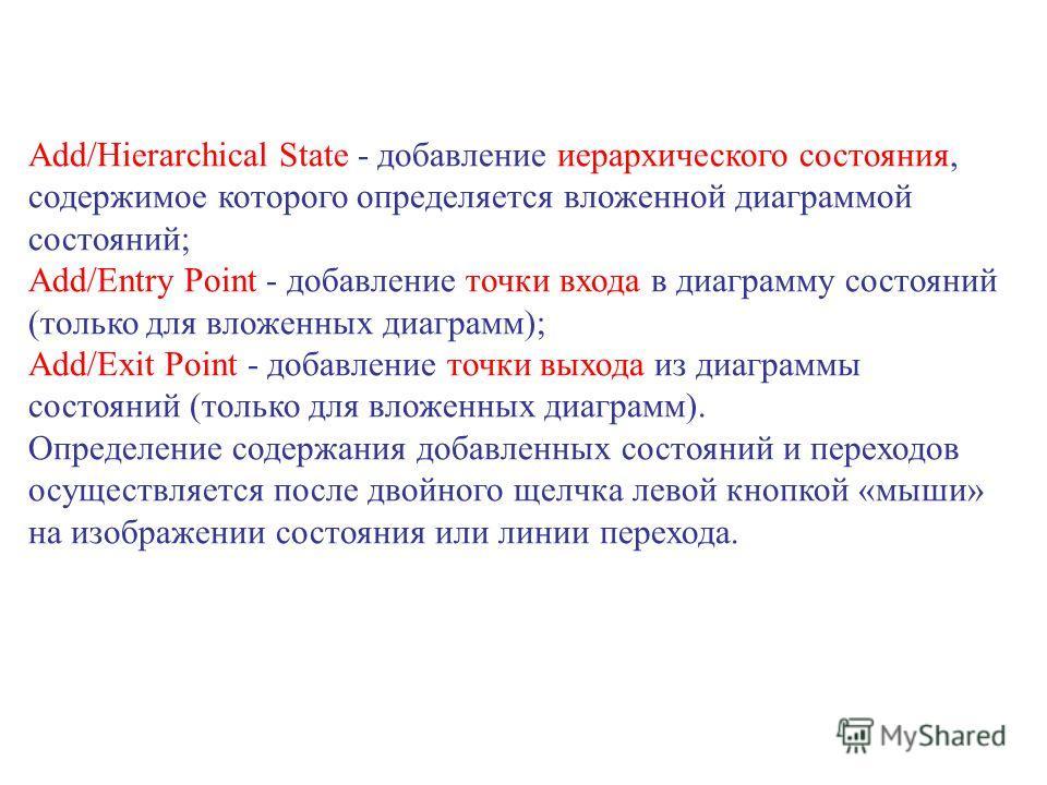 Add/Hierarchical State - добавление иерархического состояния, содержимое которого определяется вложенной диаграммой состояний; Add/Entry Point - добавление точки входа в диаграмму состояний (только для вложенных диаграмм); Add/Exit Point - добавление