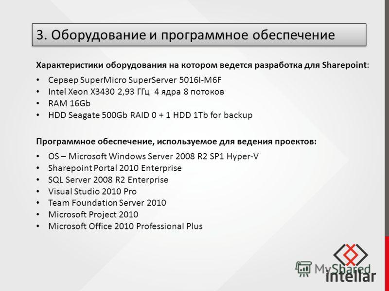 3. Оборудование и программное обеспечение Характеристики оборудования на котором ведется разработка для Sharepoint: Сервер SuperMicro SuperServer 5016I-M6F Intel Xeon X3430 2,93 ГГц 4 ядра 8 потоков RAM 16Gb HDD Seagate 500Gb RAID 0 + 1 HDD 1Tb for b