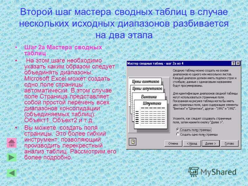 Второй шаг мастера сводных таблиц в случае нескольких исходных диапазонов разбивается на два этапа Шаг 2a Мастера сводных таблиц На этом шаге необходимо указать каким образом следует объединять диапазоны. Microsoft Excel может создать одно поле стран