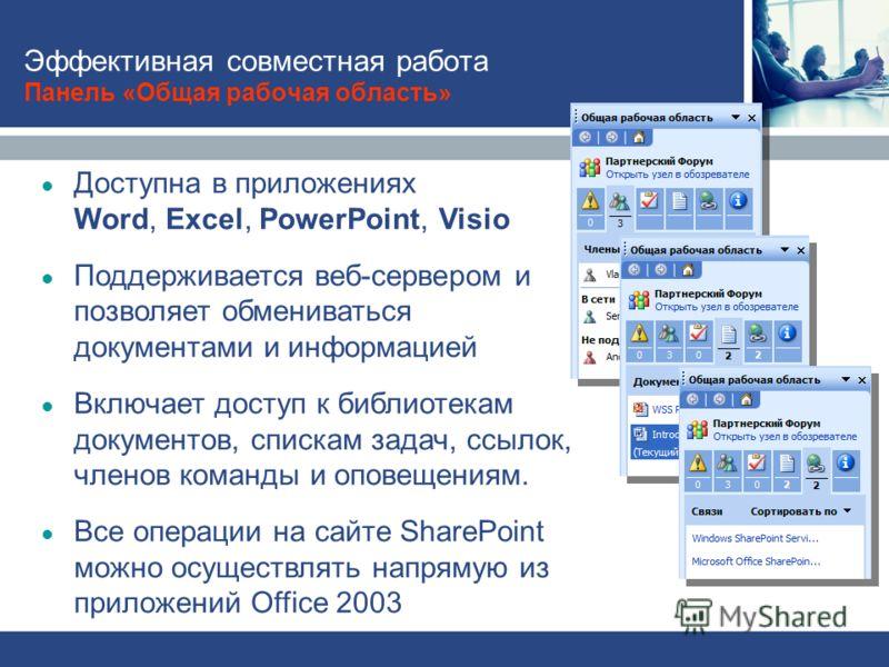 Эффективная совместная работа Панель «Общая рабочая область» Доступна в приложениях Word, Excel, PowerPoint, Visio Поддерживается веб-сервером и позволяет обмениваться документами и информацией Включает доступ к библиотекам документов, спискам задач,