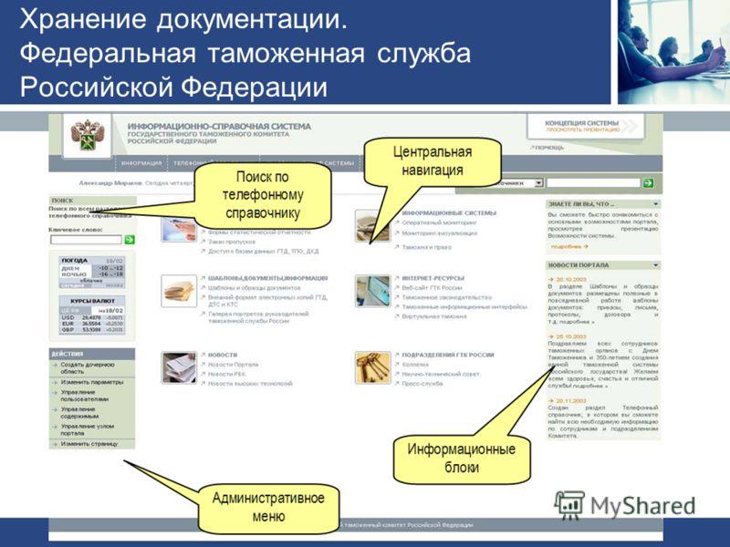 Хранение документации. Федеральная таможенная служба Российской Федерации