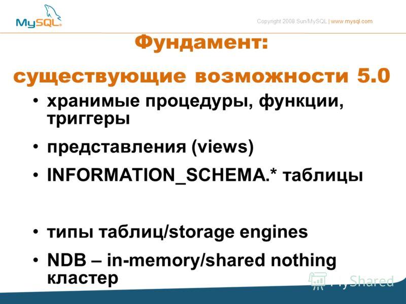 Copyright 2008 Sun/MySQL | www.mysql.com Фундамент: существующие возможности 5.0 хранимые процедуры, функции, триггеры представления (views) INFORMATION_SCHEMA.* таблицы типы таблиц/storage engines NDB – in-memory/shared nothing кластер