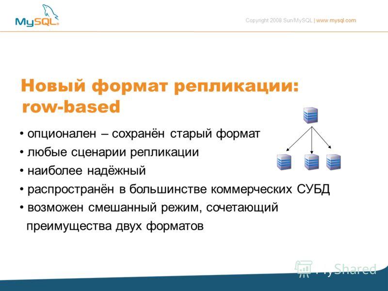 Copyright 2008 Sun/MySQL | www.mysql.com Новый формат репликации: row-based опционален – сохранён старый формат любые сценарии репликации наиболее надёжный распространён в большинстве коммерческих СУБД возможен смешанный режим, сочетающий преимуществ