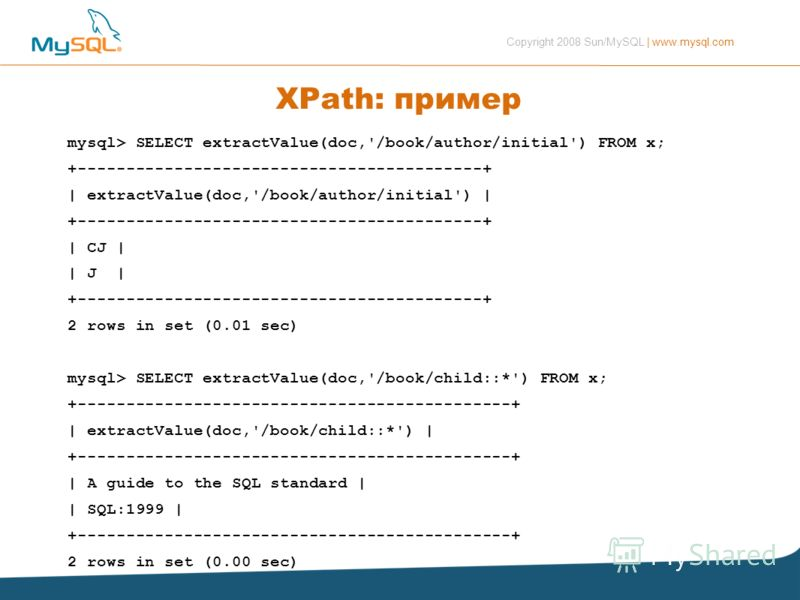 Copyright 2008 Sun/MySQL | www.mysql.com XPath: пример mysql> SELECT extractValue(doc,'/book/author/initial') FROM x; +------------------------------------------+ | extractValue(doc,'/book/author/initial') | +-----------------------------------------