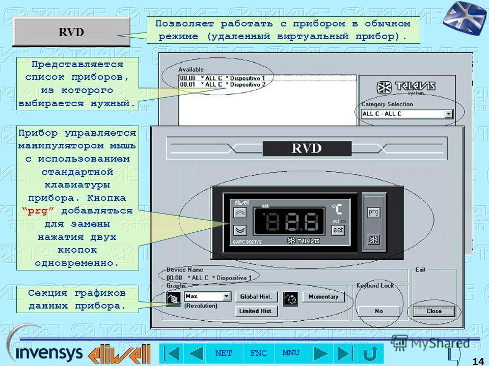 NET FNC MNU 13 Data reading Позволяет просмотреть данные датчиков приборов сети в режиме реального времени. Представляется список приборов в котором указываются адрес категория, имя, показания всех датчиков и единица измерения. Допускается просматрив
