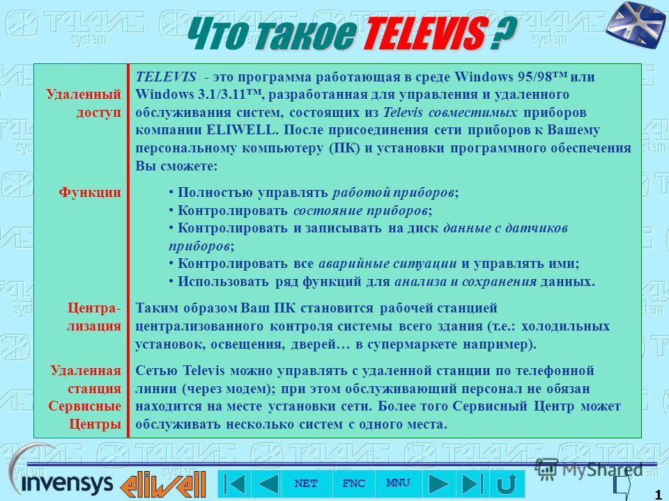 NET FNC MNU 0 Что такое СИСТЕМА ? Сеть Televis совместимых приборов, соединенных в сеть RS-485 либо напрямую, либо через специальный модуль (для приборов с TTL-выходом); Локальная станция на базе персонального компьютера с программой Televis 150/200;