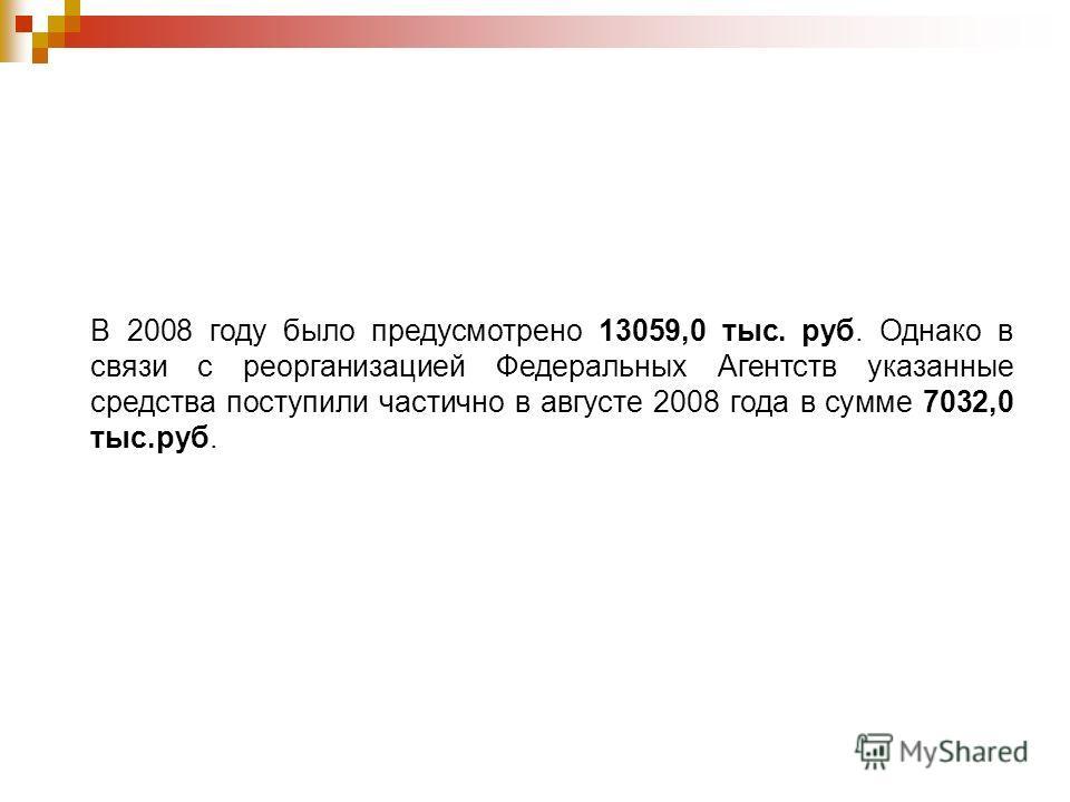 В 2008 году было предусмотрено 13059,0 тыс. руб. Однако в связи с реорганизацией Федеральных Агентств указанные средства поступили частично в августе 2008 года в сумме 7032,0 тыс.руб.