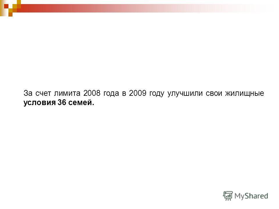За счет лимита 2008 года в 2009 году улучшили свои жилищные условия 36 семей.