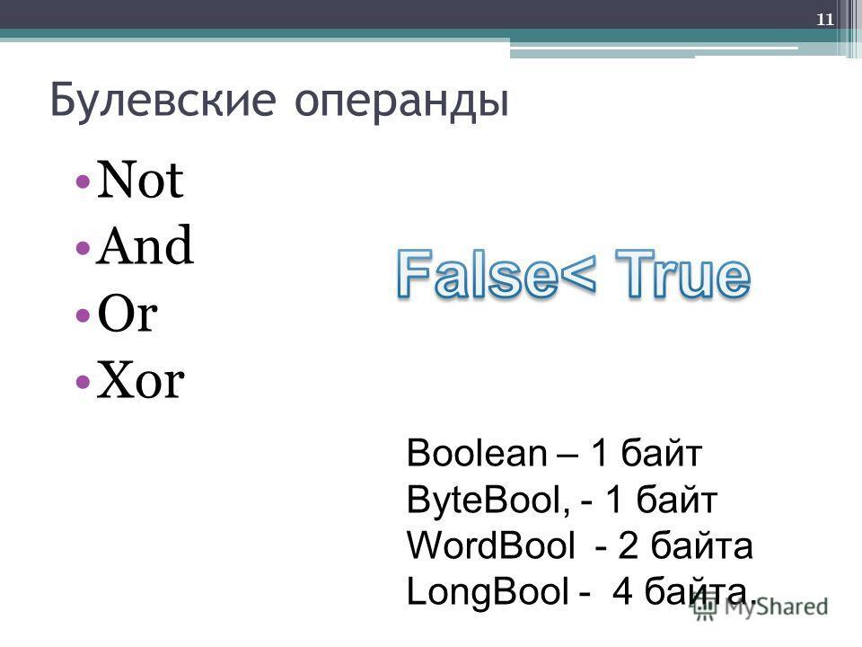Булевские операнды Not And Or Xor 11 Boolean – 1 байт ByteBool, - 1 байт WordBool - 2 байта LongBool - 4 байта.