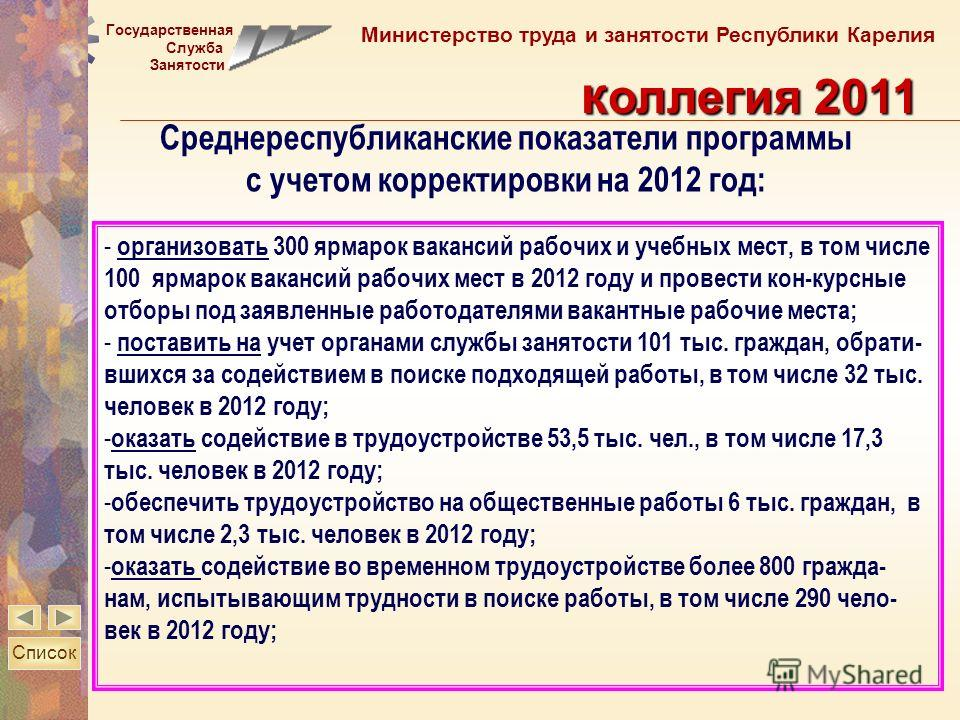 Государственная Служба Занятости Министерство труда и занятости Республики Карелия к оллегия 2011 - организовать 300 ярмарок вакансий рабочих и учебных мест, в том числе 100 ярмарок вакансий рабочих мест в 2012 году и провести кон-курсные отборы под