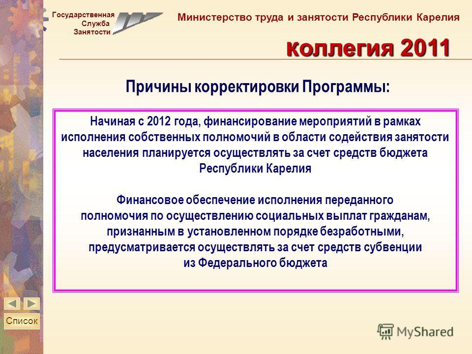 Государственная Служба Занятости Министерство труда и занятости Республики Карелия к оллегия 2011 Начиная с 2012 года, финансирование мероприятий в рамках исполнения собственных полномочий в области содействия занятости населения планируется осуществ