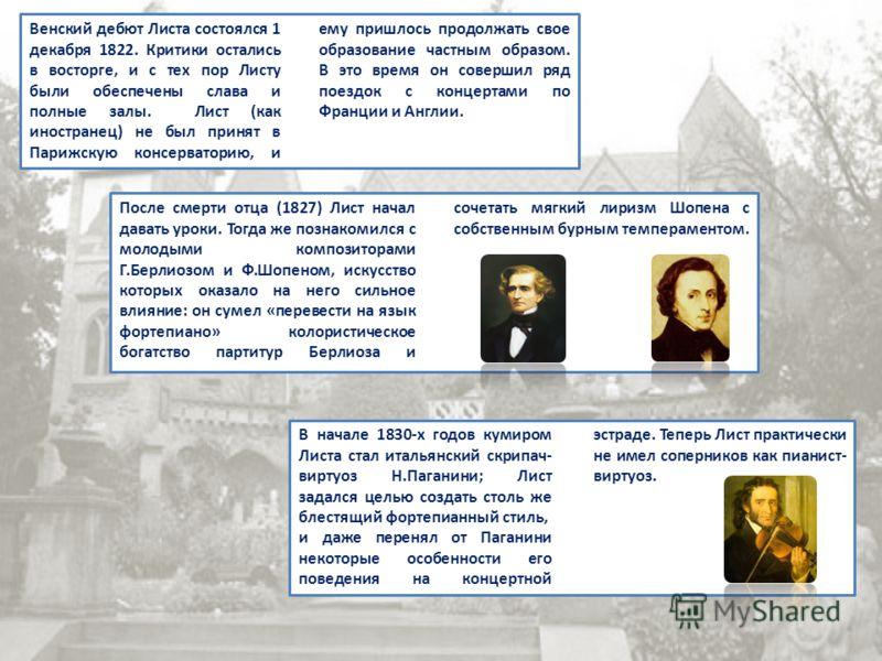 Венский дебют Листа состоялся 1 декабря 1822. Критики остались в восторге, и с тех пор Листу были обеспечены слава и полные залы. Лист (как иностранец) не был принят в Парижскую консерваторию, и ему пришлось продолжать свое образование частным образо