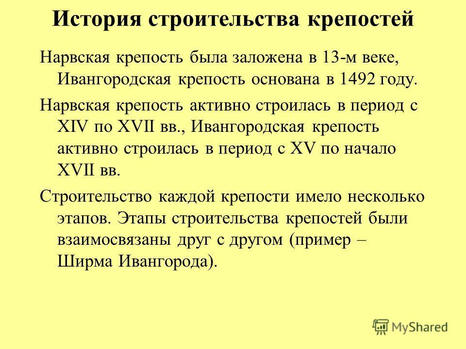 История строительства крепостей Нарвская крепость была заложена в 13-м веке, Ивангородская крепость основана в 1492 году. Нарвская крепость активно строилась в период с XIV по XVII вв., Ивангородская крепость активно строилась в период с XV по начало