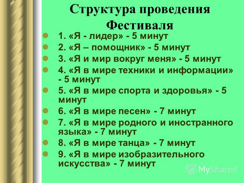 Структура проведения Фестиваля 1. «Я - лидер» - 5 минут 2. «Я – помощник» - 5 минут 3. «Я и мир вокруг меня» - 5 минут 4. «Я в мире техники и информации» - 5 минут 5. «Я в мире спорта и здоровья» - 5 минут 6. «Я в мире песен» - 7 минут 7. «Я в мире р