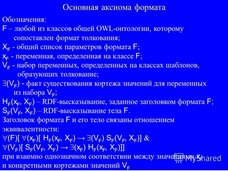 Основная аксиома формата Обозначения: F – любой из классов общей OWL-онтологии, которому сопоставлен формат толкования; X F - общий список параметров формата F ; x F - переменная, определенная на классе F ; V F - набор переменных, определенных на кла