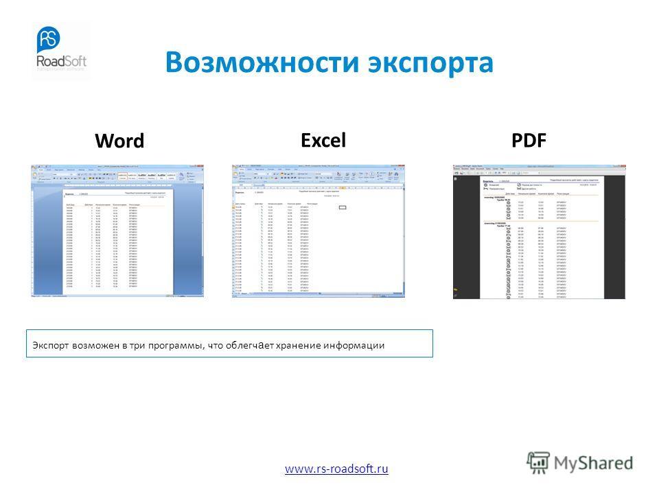 www.rs-roadsoft.ru Возможности экспорта Word Excel PDF Экспорт возможен в три программы, что облегч а ет хранение информации