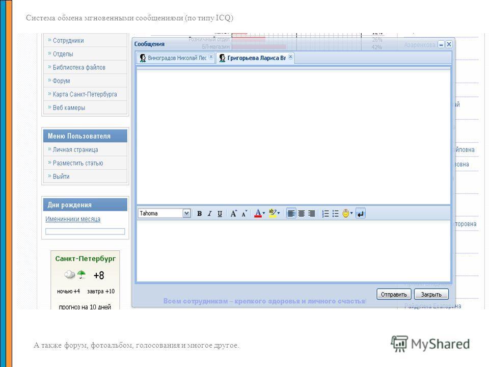 Система обмена мгновенными сообщениями (по типу ICQ) А также форум, фотоальбом, голосования и многое другое.