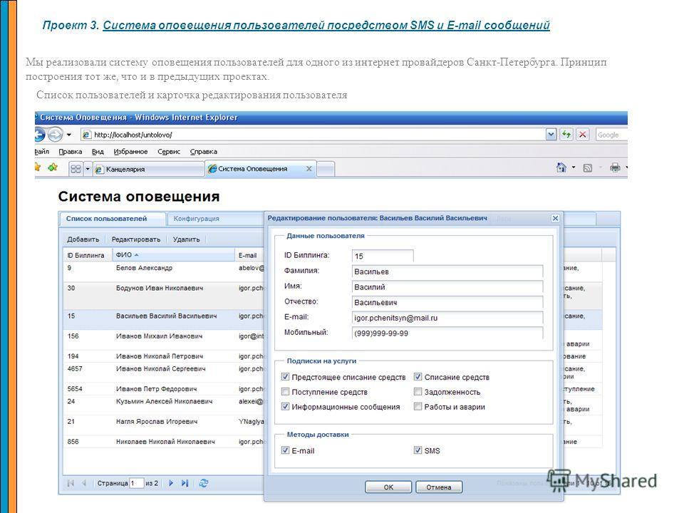 Проект 3. Система оповещения пользователей посредством SMS и E-mail сообщений Мы реализовали систему оповещения пользователей для одного из интернет провайдеров Санкт-Петербурга. Принцип построения тот же, что и в предыдущих проектах. Список пользова