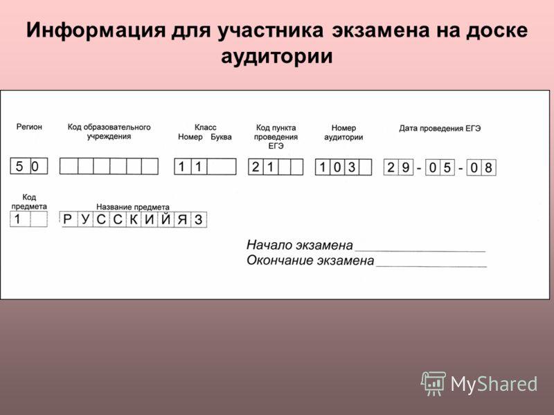 Информация для участника экзамена на доске аудитории 50