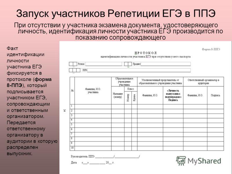Факт идентификации личности участника ЕГЭ фиксируется в протоколе (форма 8-ППЭ), который подписывается участником ЕГЭ, сопровождающим и ответственным организатором. Передается ответственному организатору в аудитории в которую распределен выпускник. П