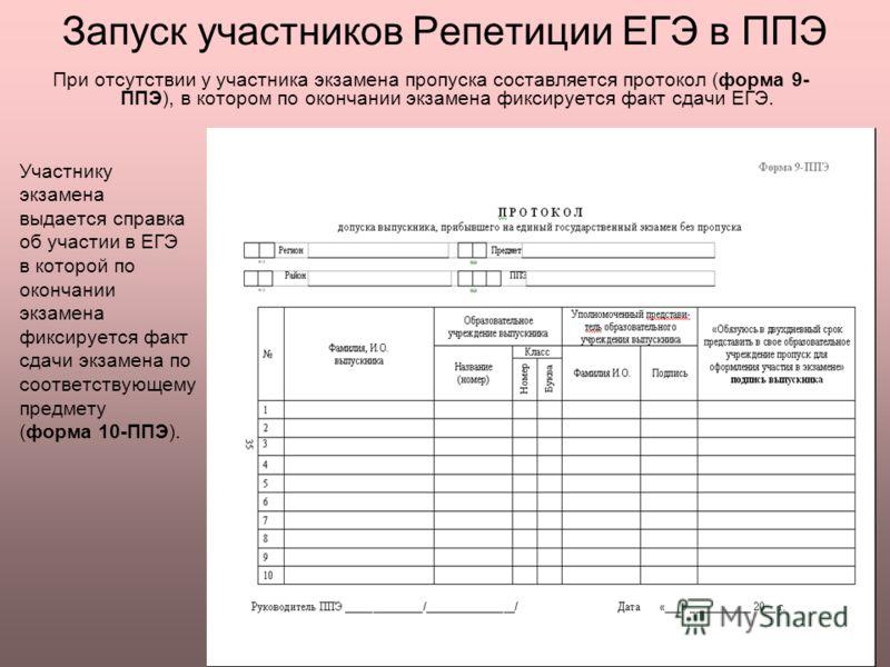 Запуск участников Репетиции ЕГЭ в ППЭ Участнику экзамена выдается справка об участии в ЕГЭ в которой по окончании экзамена фиксируется факт сдачи экзамена по соответствующему предмету (форма 10-ППЭ). При отсутствии у участника экзамена пропуска соста