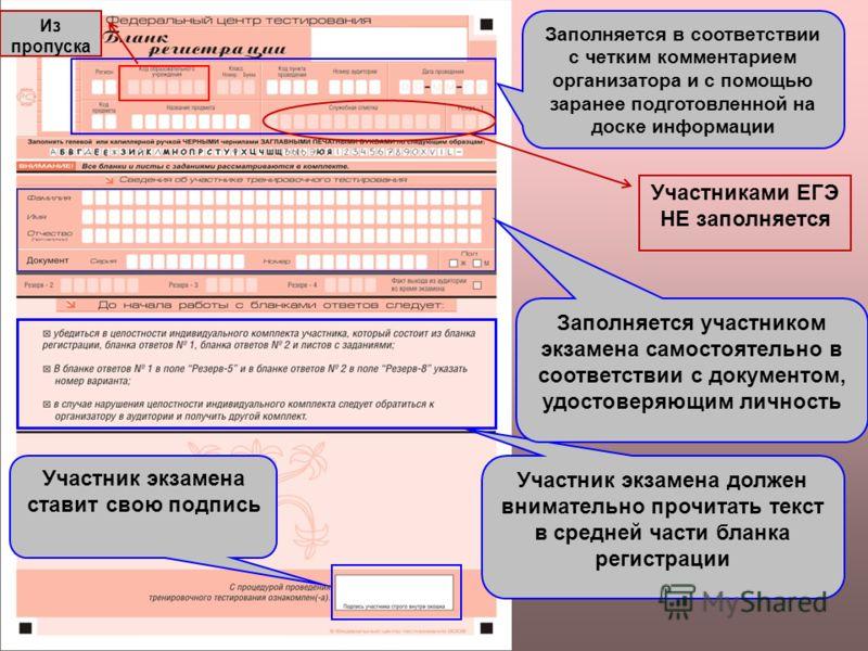Участник экзамена должен внимательно прочитать текст в средней части бланка регистрации Заполняется в соответствии с четким комментарием организатора и с помощью заранее подготовленной на доске информации Заполняется участником экзамена самостоятельн