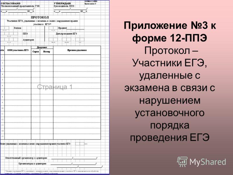 Приложение 3 к форме 12-ППЭ Протокол – Участники ЕГЭ, удаленные с экзамена в связи с нарушением установочного порядка проведения ЕГЭ