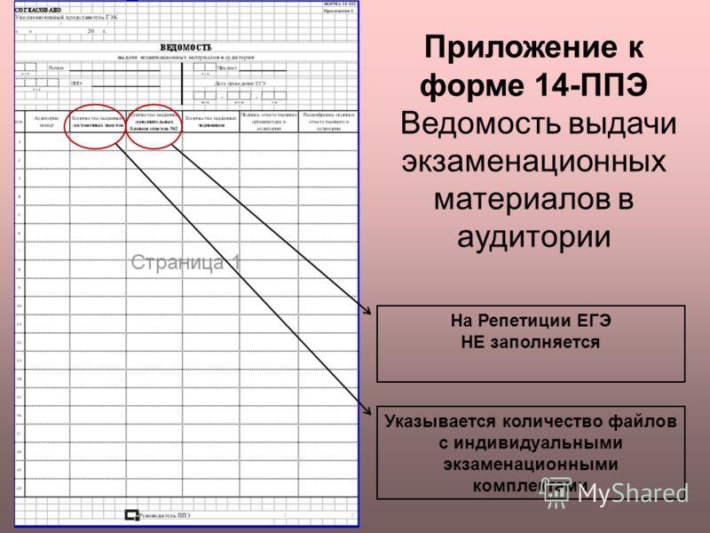 Приложение к форме 14-ППЭ Ведомость выдачи экзаменационных материалов в аудитории Указывается количество файлов с индивидуальными экзаменационными комплектами На Репетиции ЕГЭ НЕ заполняется