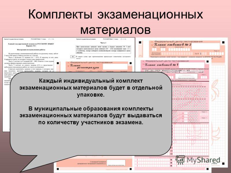 Комплекты экзаменационных материалов Каждый индивидуальный комплект экзаменационных материалов будет в отдельной упаковке. В муниципальные образования комплекты экзаменационных материалов будут выдаваться по количеству участников экзамена.