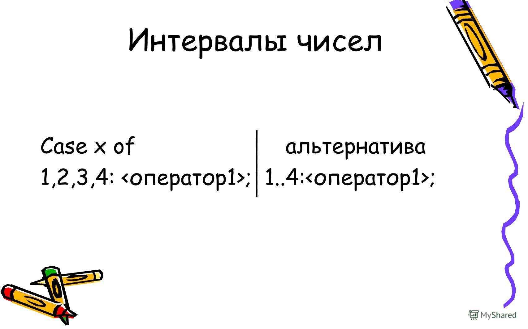 Интервалы чисел Case x ofальтернатива 1,2,3,4: ; 1..4: ;