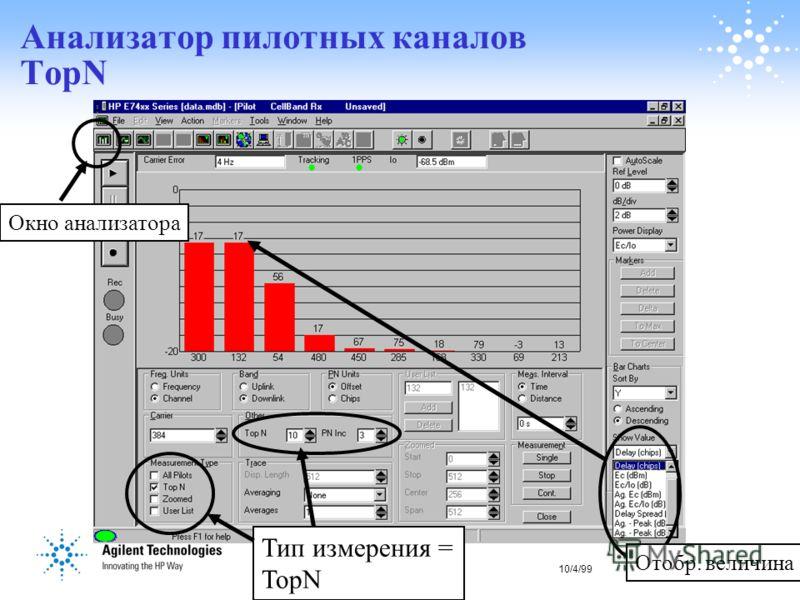 10/4/9918 Анализатор пилотных каналов TopN Отобр. величина Тип измерения = TopN Окно анализатора