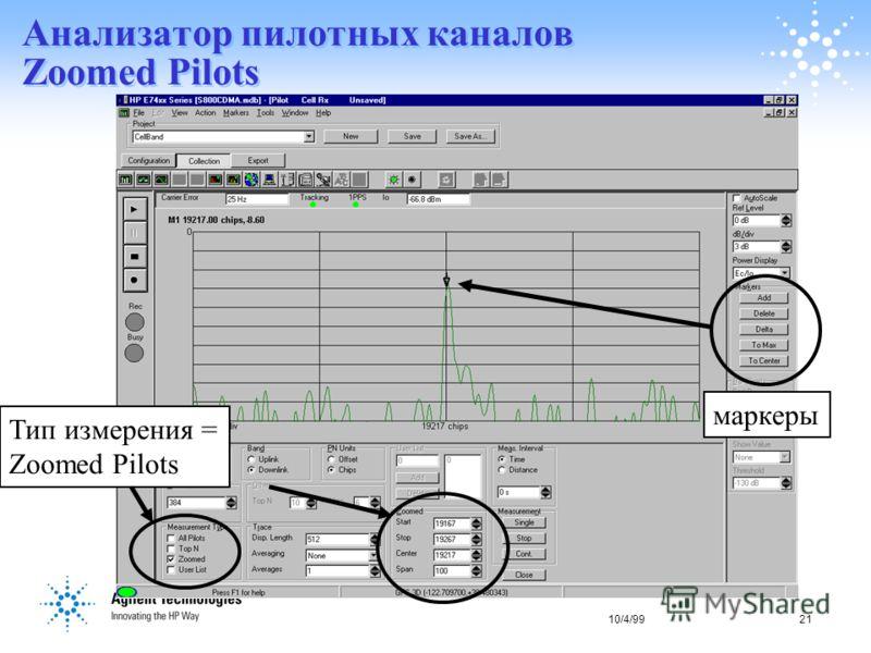 10/4/9921 Анализатор пилотных каналов Zoomed Pilots маркеры Тип измерения = Zoomed Pilots