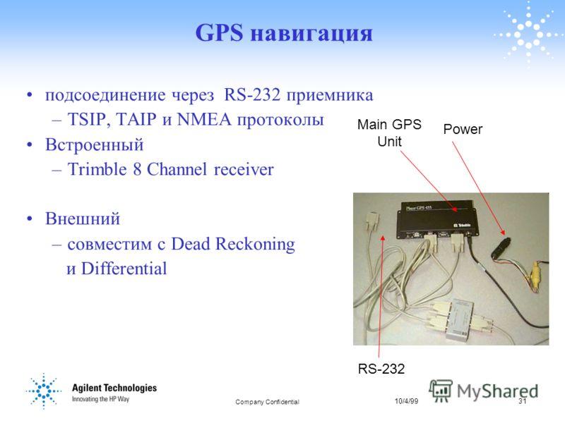 10/4/9931 Company Confidential 31 GPS навигация подсоединение через RS-232 приемника –TSIP, TAIP и NMEA протоколы Встроенный –Trimble 8 Channel receiver Внешний –совместим с Dead Reckoning и Differential Main GPS Unit Power RS-232