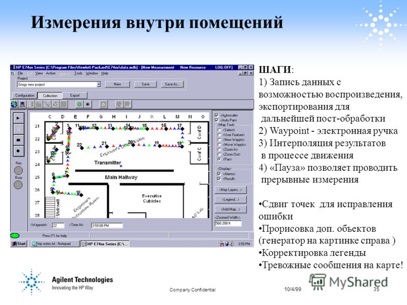 10/4/9935 Company Confidential 35 Измерения внутри помещений ШАГИ: 1) Запись данных с возможностью воспроизведения, экспортирования для дальнейшей пост-обработки 2) Waypoint - электронная ручка 3) Интерполяция результатов в процессе движения 4) «Пауз