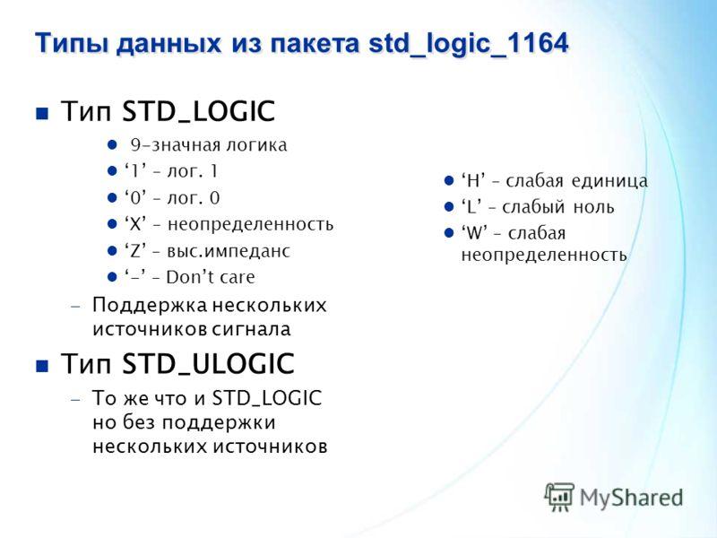 Типы данных из пакета std_logic_1164 Тип STD_LOGIC 9-значная логика 1 – лог. 1 0 – лог. 0 X – неопределенность Z – выс.импеданс - – Dont care Поддержка нескольких источников сигнала Тип STD_ULOGIC То же что и STD_LOGIC но без поддержки нескольких ист