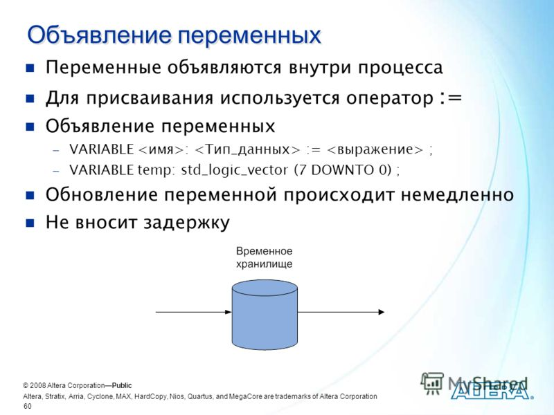 © 2008 Altera CorporationPublic Altera, Stratix, Arria, Cyclone, MAX, HardCopy, Nios, Quartus, and MegaCore are trademarks of Altera Corporation 60 Объявление переменных Переменные объявляются внутри процесса Для присваивания используется оператор :=