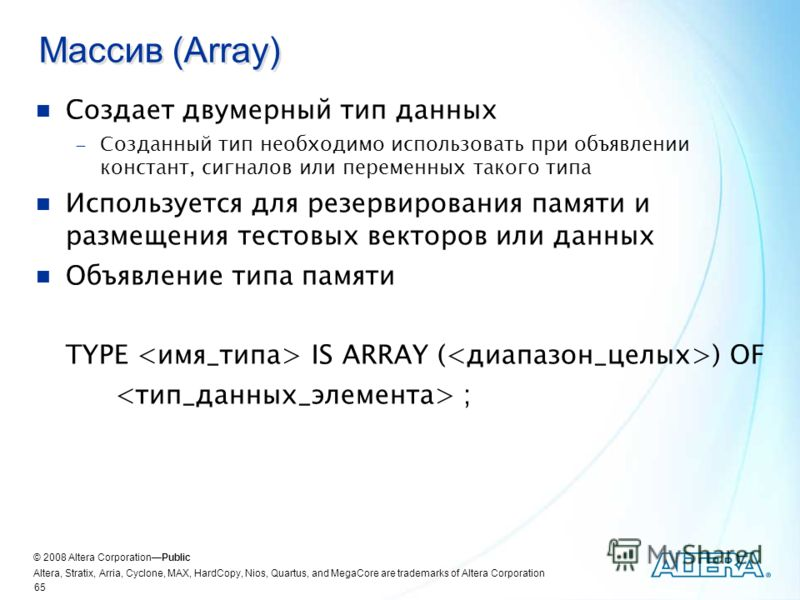 © 2008 Altera CorporationPublic Altera, Stratix, Arria, Cyclone, MAX, HardCopy, Nios, Quartus, and MegaCore are trademarks of Altera Corporation 65 Массив (Array) Создает двумерный тип данных Созданный тип необходимо использовать при объявлении конст