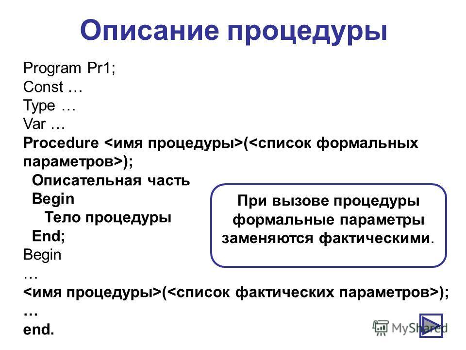 Описание процедуры Program Pr1; Const … Type … Var … Procedure ( ); Описательная часть Begin Тело процедуры End; Begin … ( ); … end. При вызове процедуры формальные параметры заменяются фактическими.