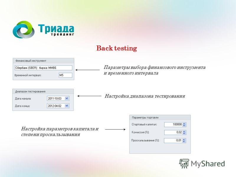 Back testing Параметры выбора финансового инструмента и временного интервала Настройка диапазона тестирования Настройка параметров капитала и степени проскальзывания