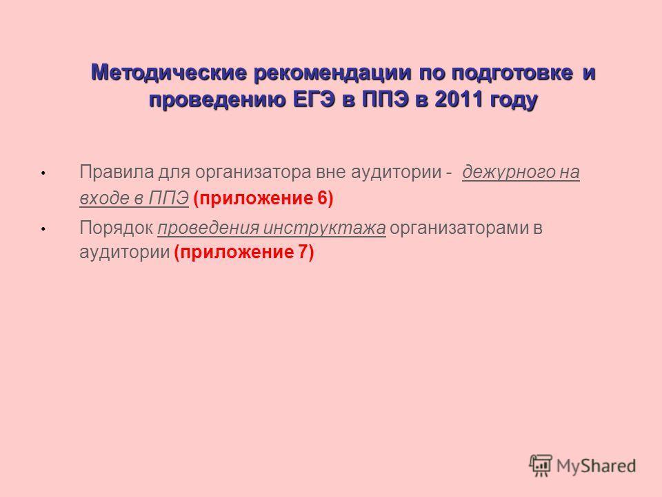 Методические рекомендации по подготовке и проведению ЕГЭ в ППЭ в 2011 году Правила для организатора вне аудитории - дежурного на входе в ППЭ (приложение 6) Порядок проведения инструктажа организаторами в аудитории (приложение 7)