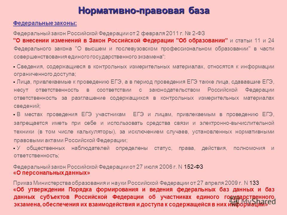 Нормативно-правовая база Федеральные законы: Федеральный закон Российской Федерации от 2 февраля 2011 г. 2-ФЗ