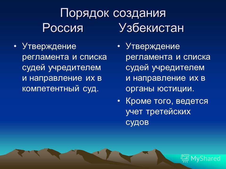 Порядок создания Россия Узбекистан Утверждение регламента и списка судей учредителем и направление их в компетентный суд. Утверждение регламента и списка судей учредителем и направление их в органы юстиции. Кроме того, ведется учет третейских судов