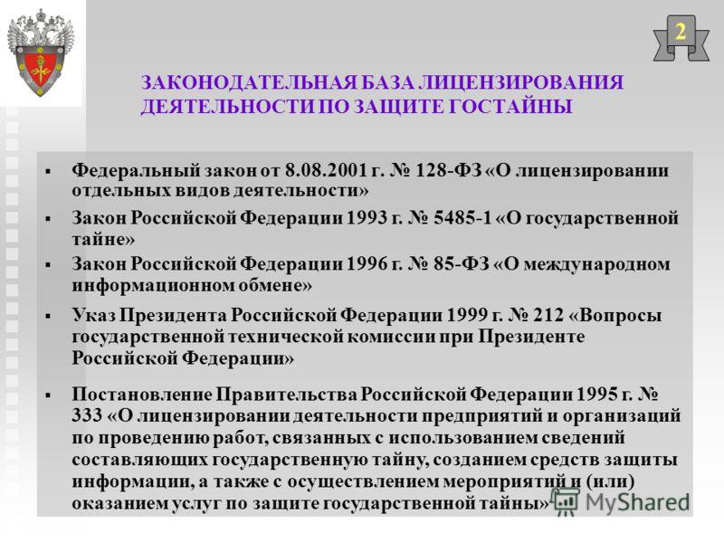 ЗАКОНОДАТЕЛЬНАЯ БАЗА ЛИЦЕНЗИРОВАНИЯ ДЕЯТЕЛЬНОСТИ ПО ЗАЩИТЕ ГОСТАЙНЫ Федеральный закон от 8.08.2001 г. 128-ФЗ «О лицензировании отдельных видов деятельности» 2 Закон Российской Федерации 1993 г. 5485-1 «О государственной тайне» Закон Российской Федера